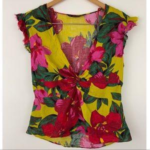 Zara Basic 100% Linen Multicolored Floral Top XL